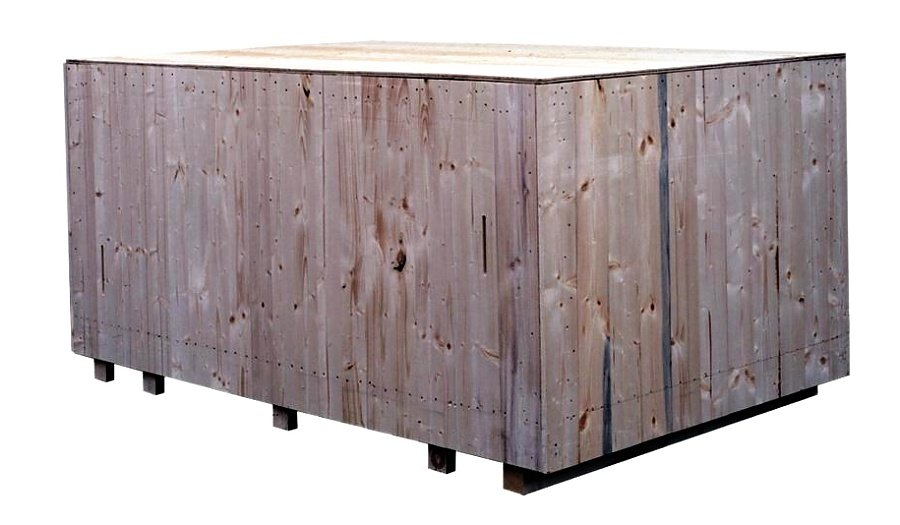 Solid wood crate for ocean shipments
